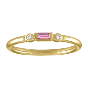 Olive ring with pink tourmaline baguette and two round diamonds