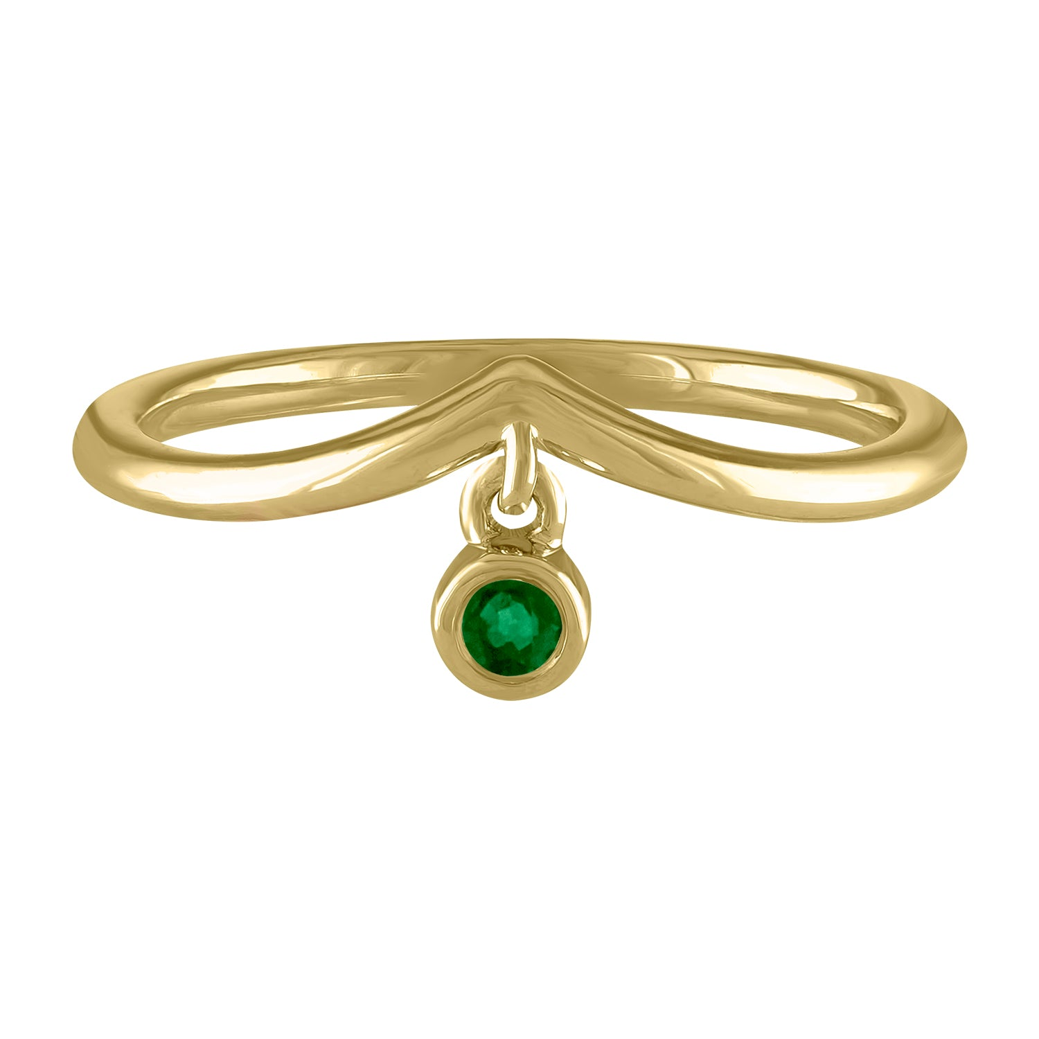 Curved band with dangling bezel set emerald