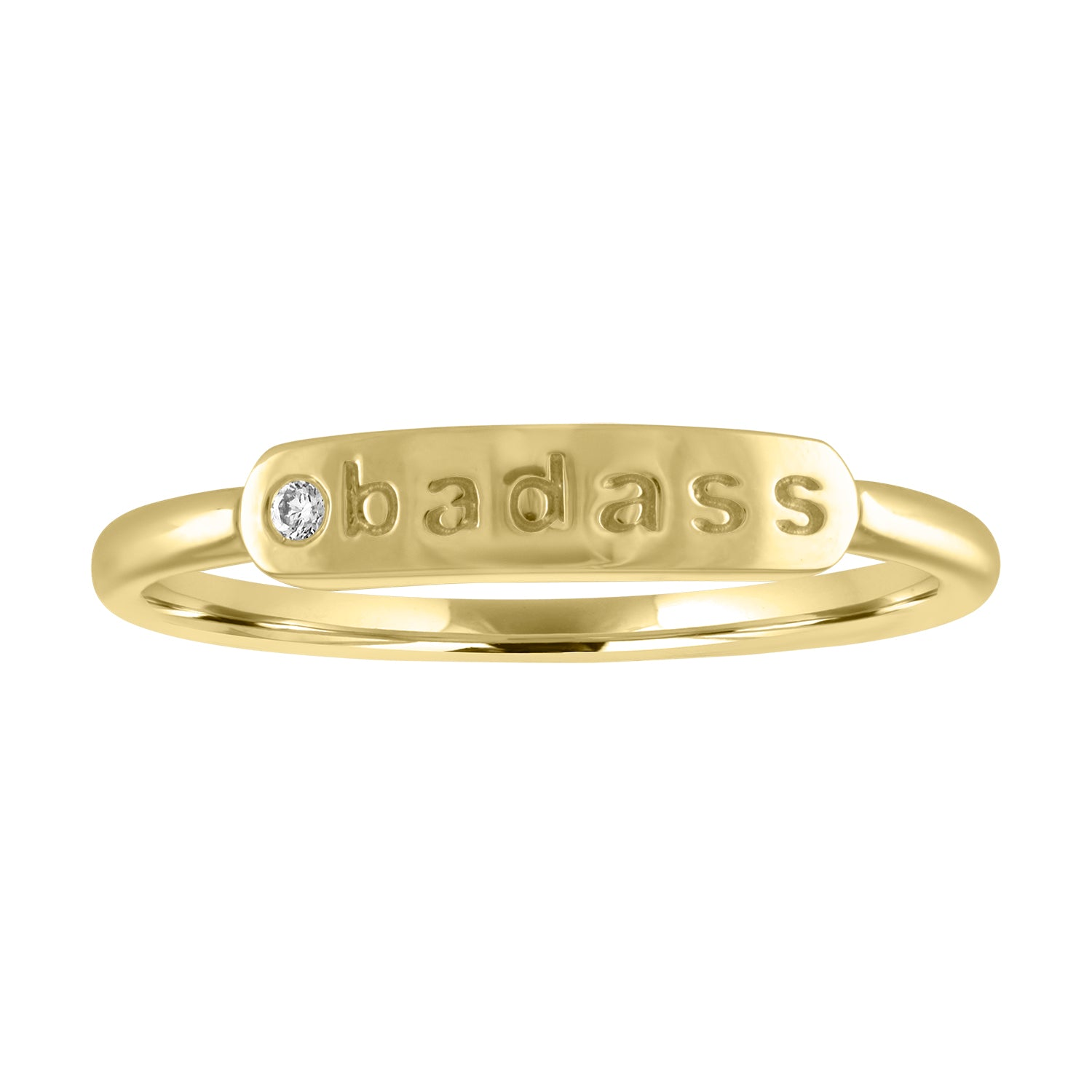 "skinny signet ring with ""badass"" and diamond"