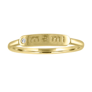"skinny signet ring with ""mami"" and diamond"