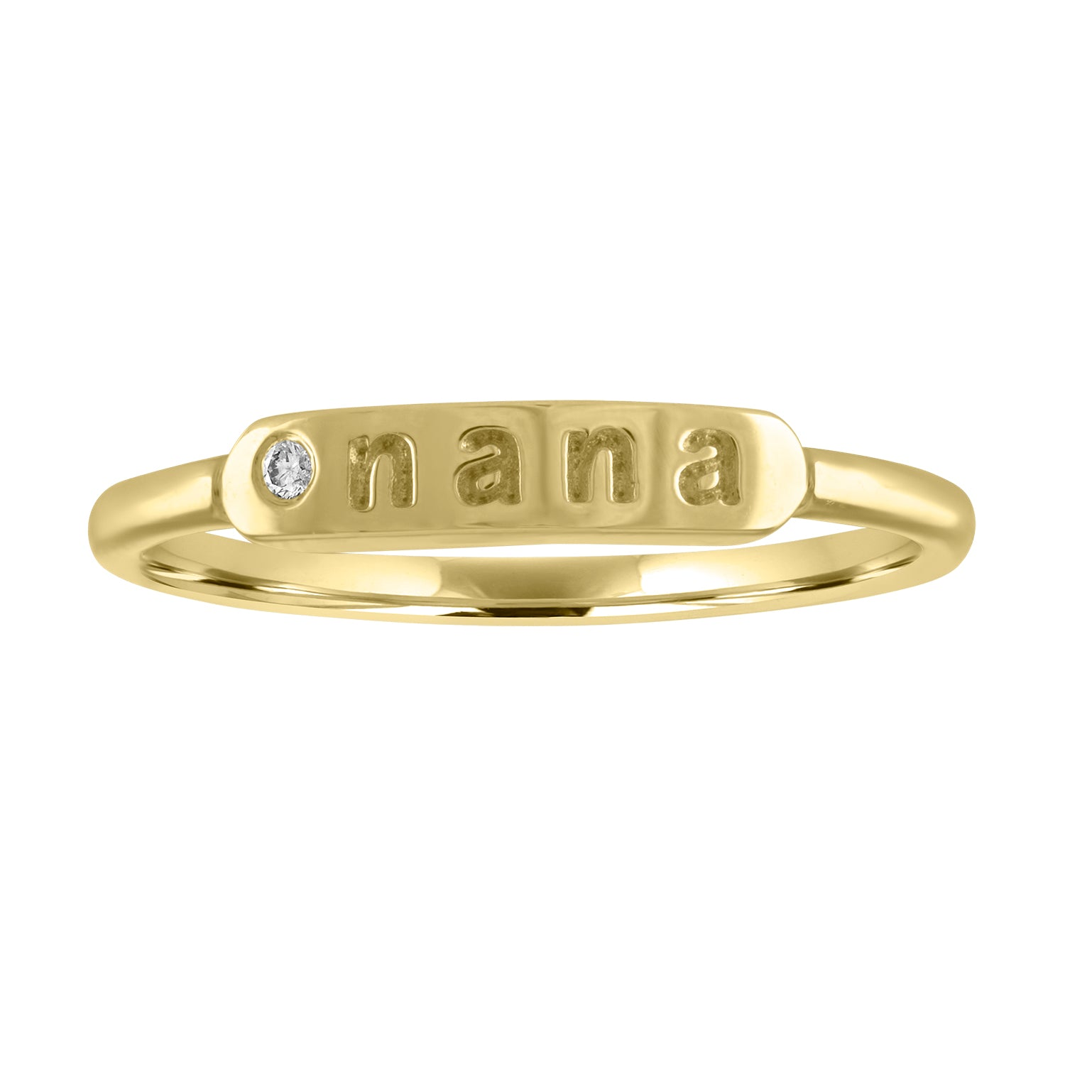 "skinny signet ring with ""nana"" and diamond"