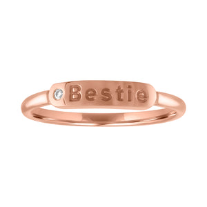 "skinny signet ring with ""bestie"" and diamond"