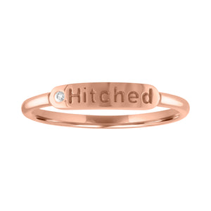 "skinny signet ring with ""hitched"" and diamond"