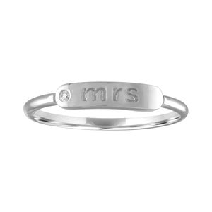 "skinny signet ring with ""mrs"" and diamond"
