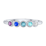 Pink ombre 5 bezel ring in blue stones