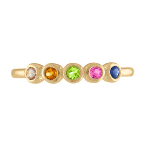 Pink ombre 5 bezel ring in assorted stones