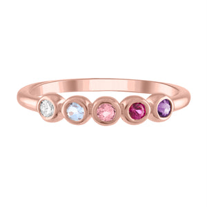 Pink ombre 5 bezel ring in pink stones