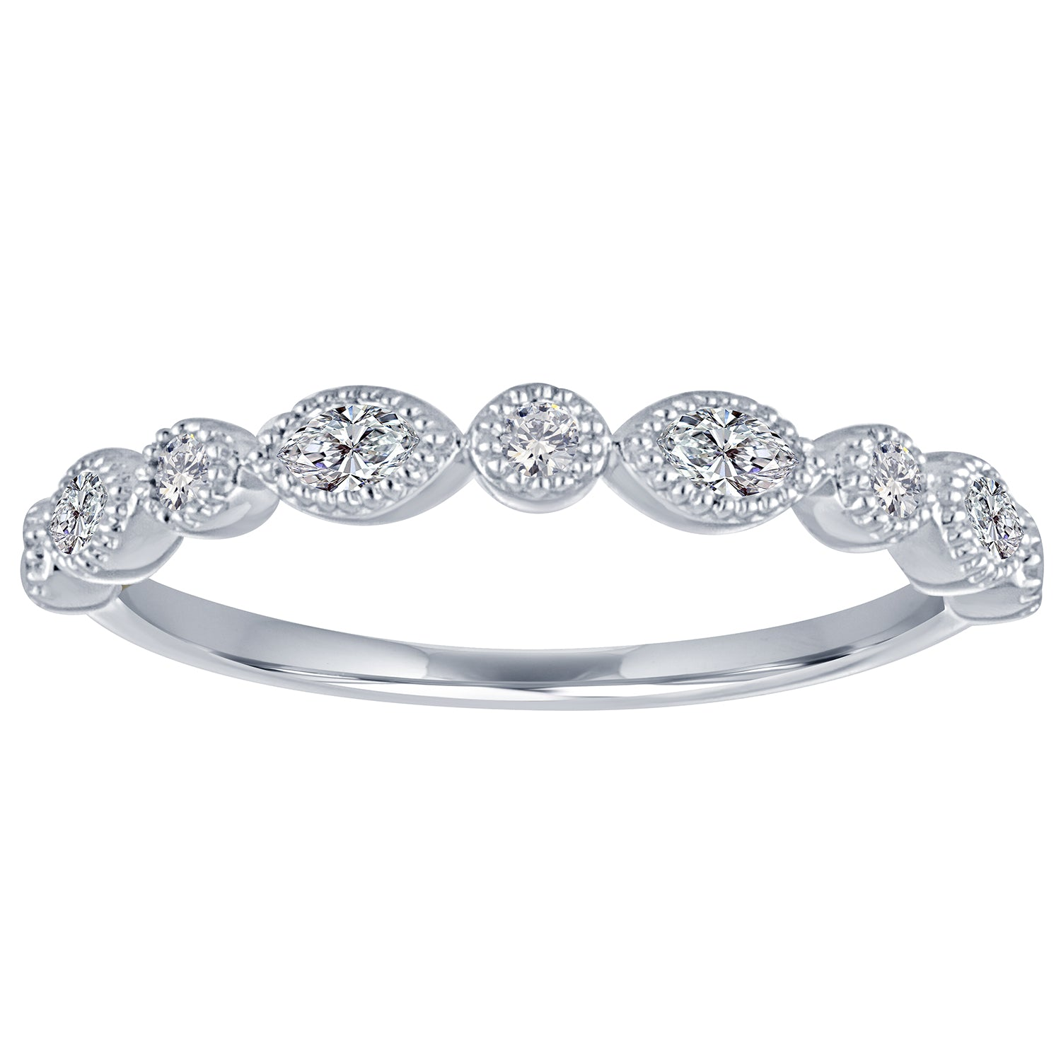 diamond band with alternating marquis and round diamonds