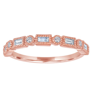 small band with alternating diamond baguettes and round diamonds