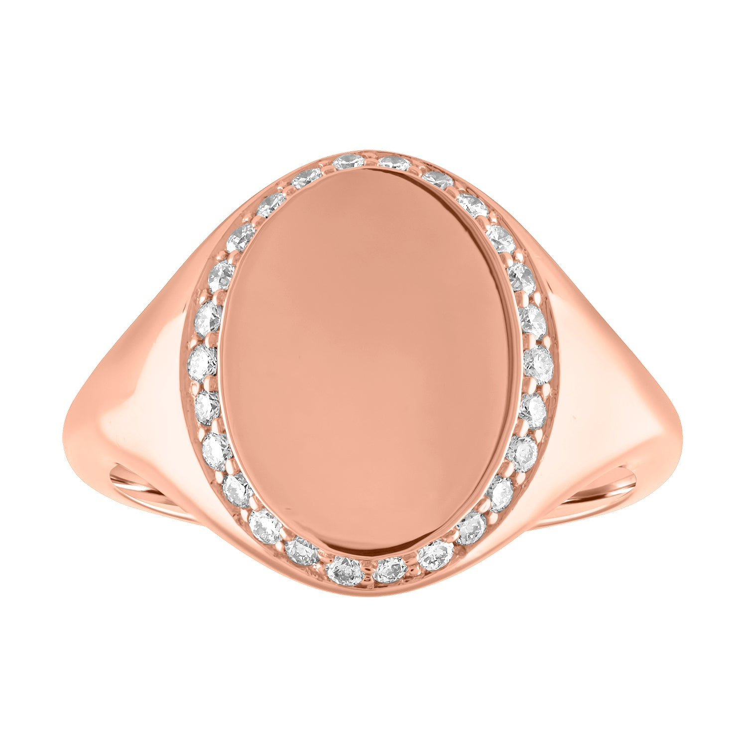 Large oval signet ring with diamond border
