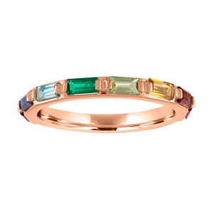 rainbow band with baguette stones set horizontal