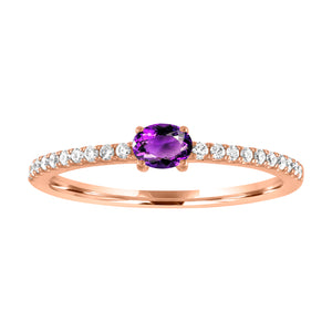 Micropave band with horizontal oval amethyst center