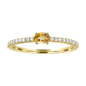 Micropave band with horizontal oval citrine center