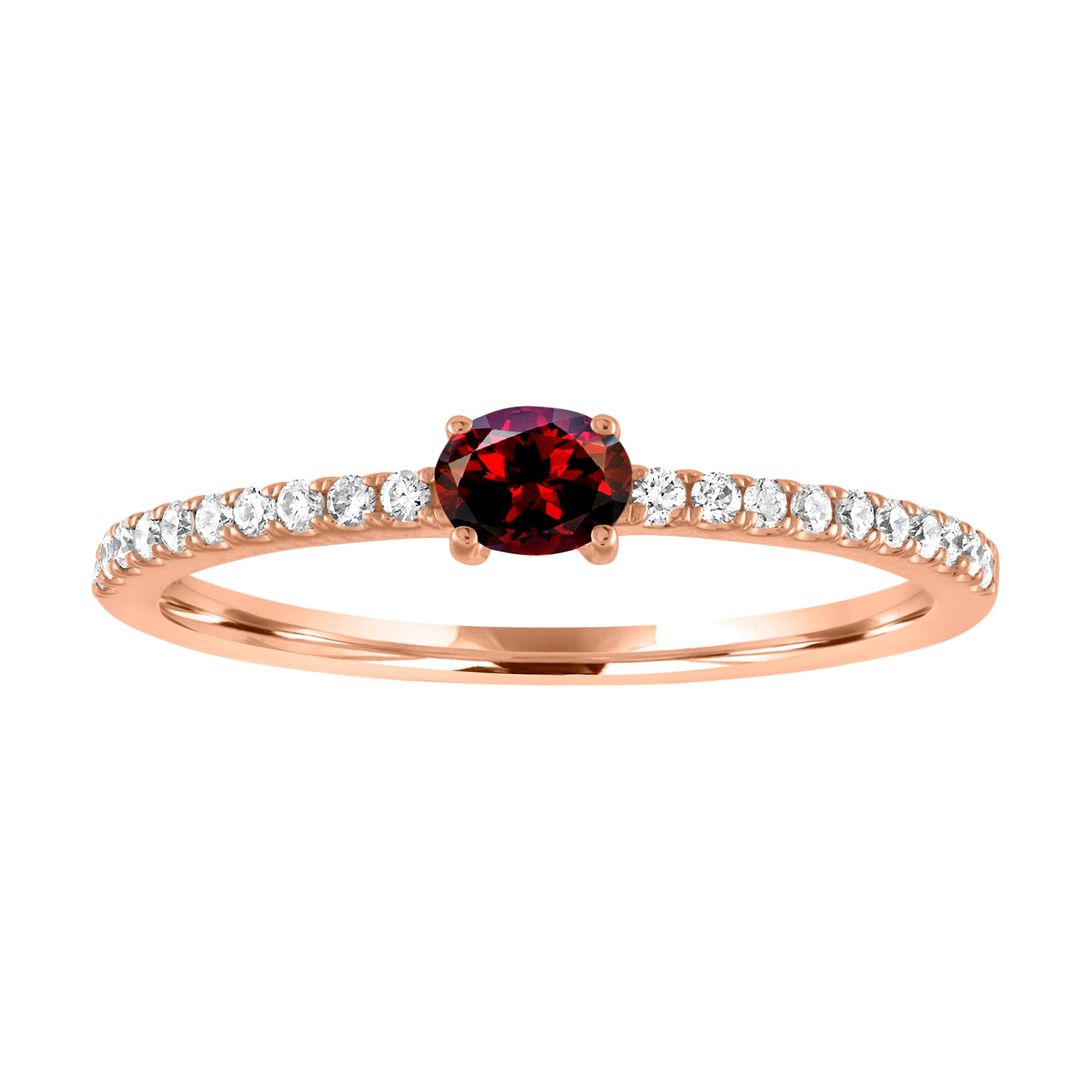 Micropave band with horizontal oval garnet center