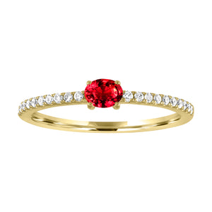 Micropave band with horizontal oval ruby center