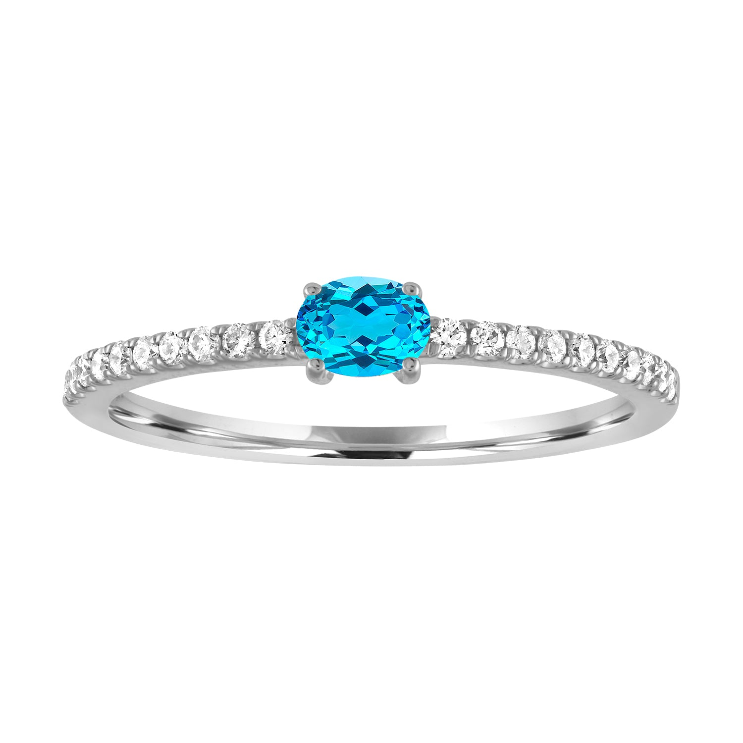 Micropave band with horizontal oval blue topaz center