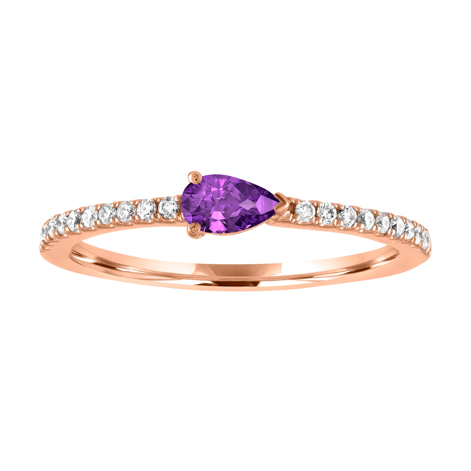 Layla ring with amethyst pear