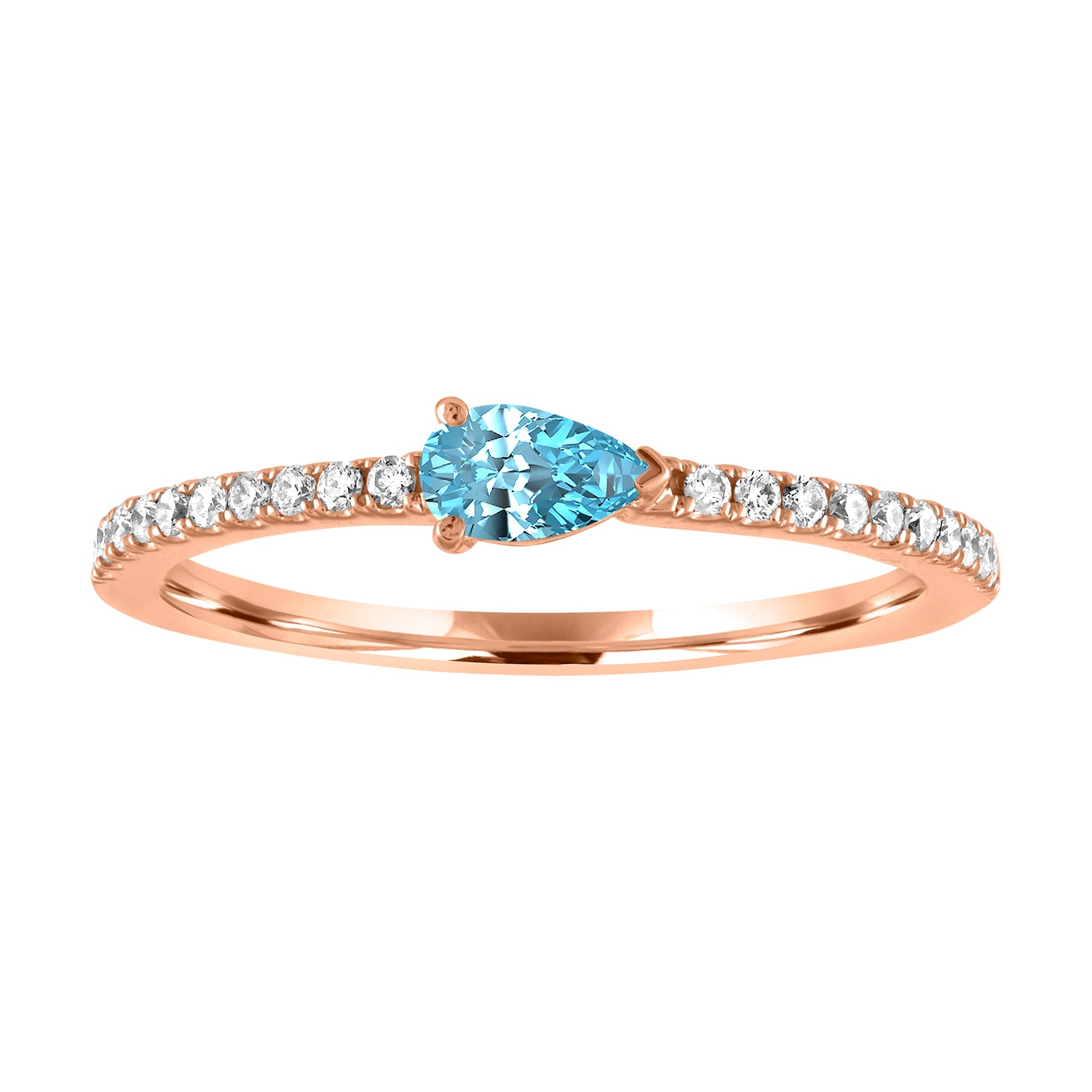 Layla ring with aquamarine pear