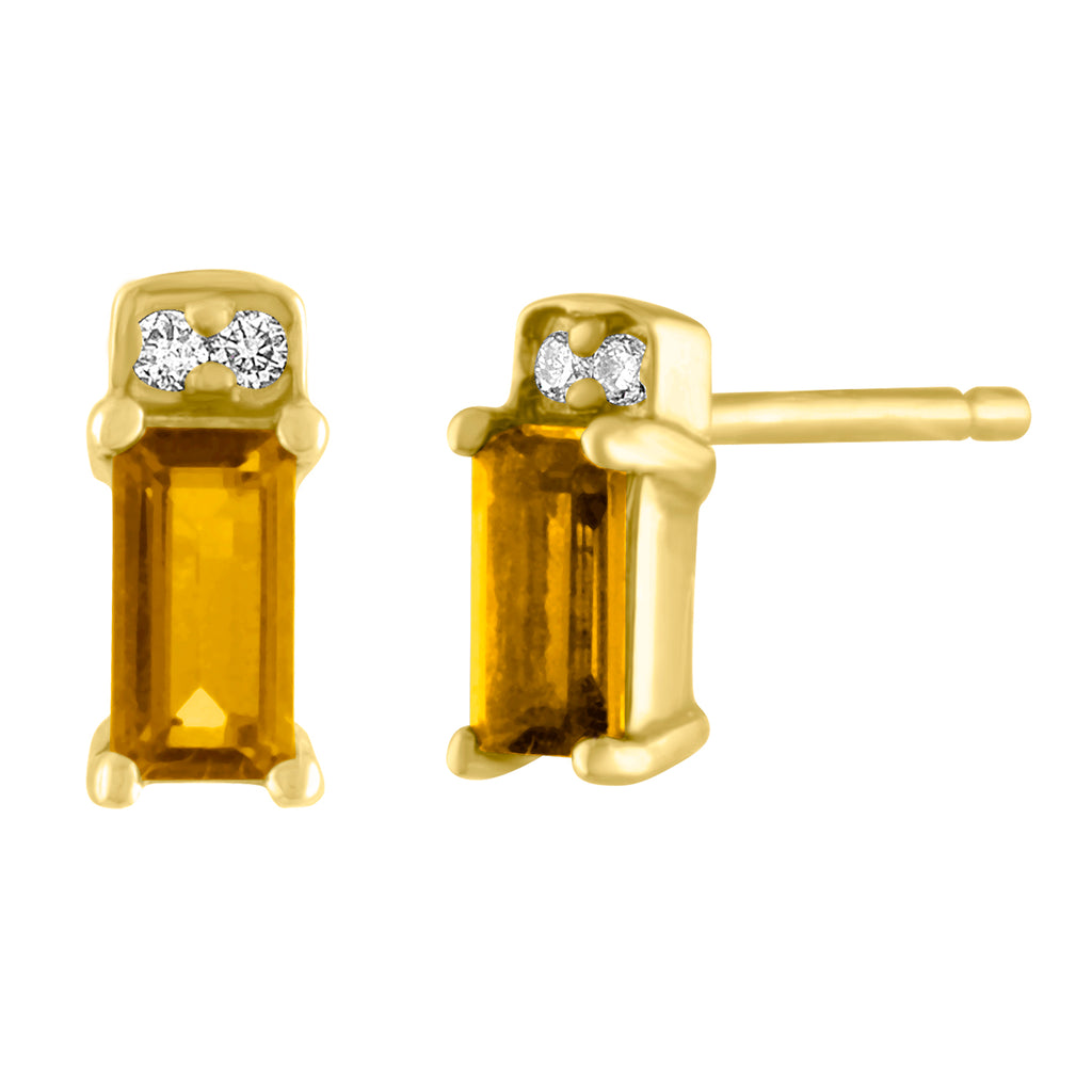 single citrine baguette stud with two round diamonds/ pair