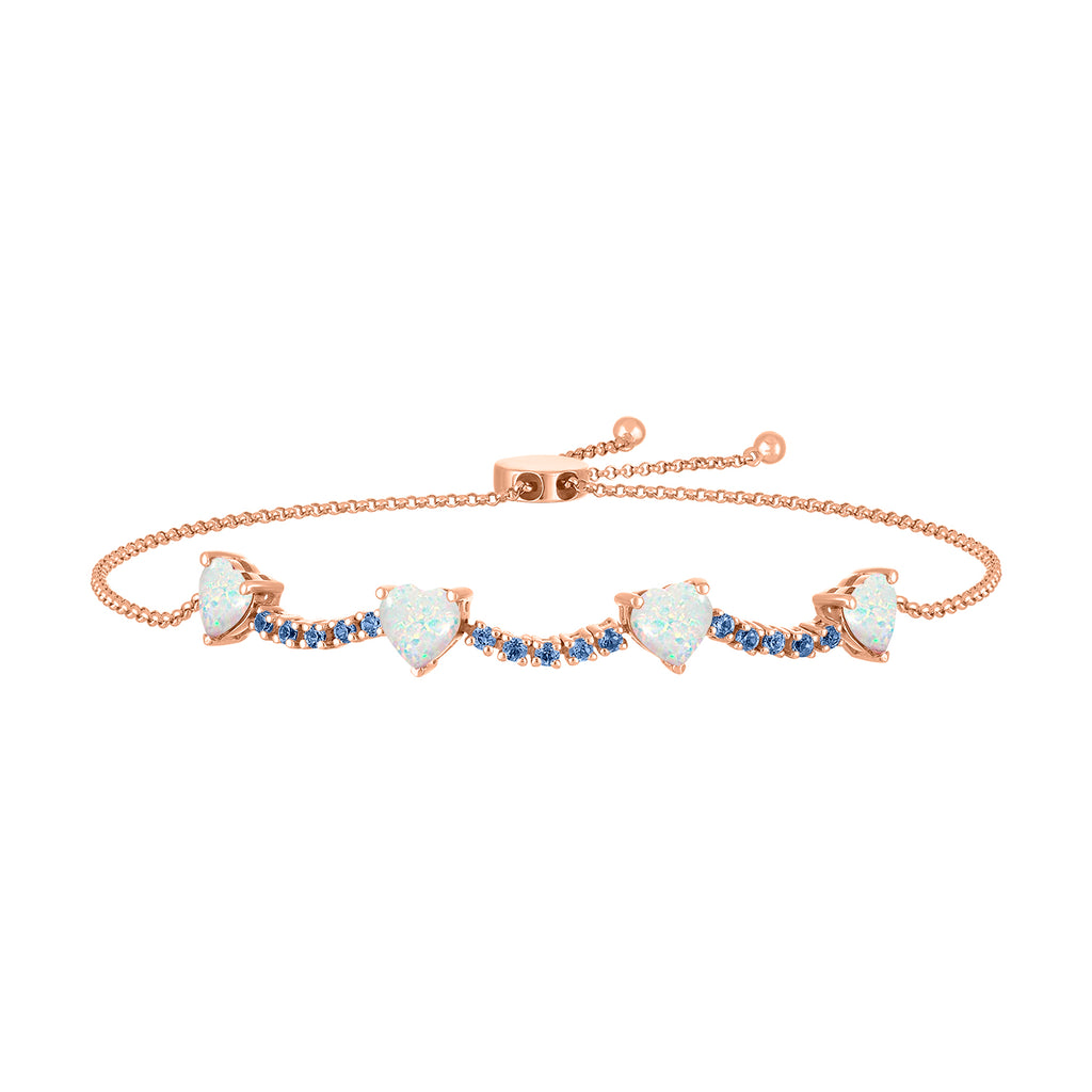 pixie bracelet in sapphire with opal hearts
