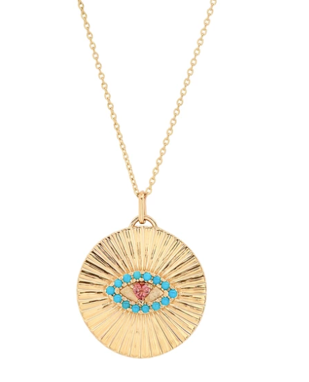 The Ashleigh Bergman Collective x My Story by Jackie Cohen Fluted Turquoise & Pink Tourmaline Evil Eye Coin Pendant