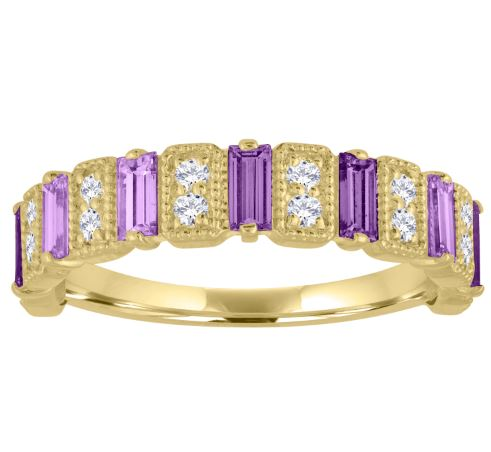 Amelia band with amethyst baguettes