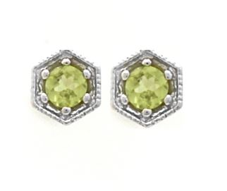 Small peridot round stone in hexagon setting / pair