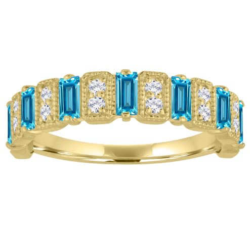 Amelia band with blue topaz baguettes