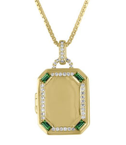 Rectangular locket with diamond border and emerald baguette corners