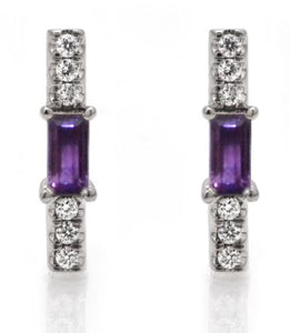 Amethyst baguette and diamond stick stud/ pair