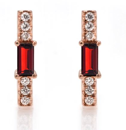 Garnet baguette and diamond stick stud/ pair