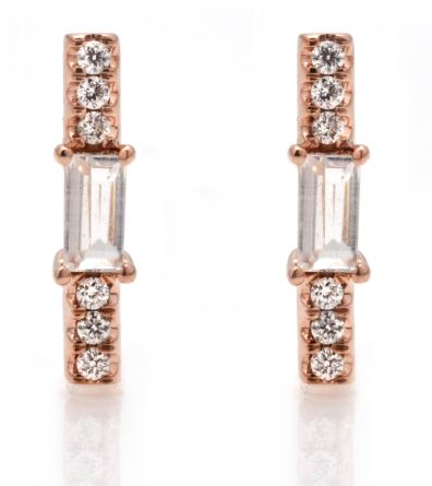 Moonstone baguette and diamond stick stud/ pair