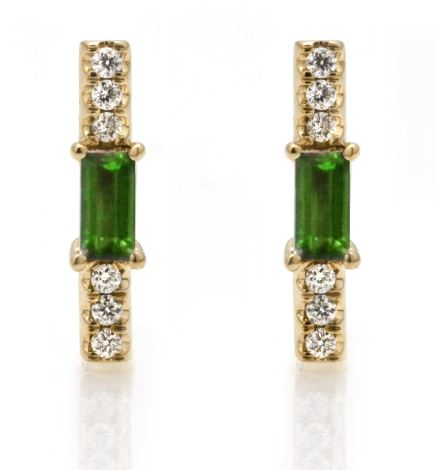 peridot baguette and diamond stick stud/ pair