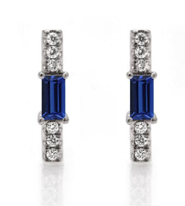 Sapphire baguette and diamond stick stud/ pair