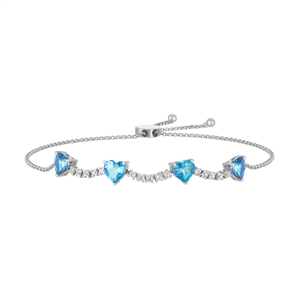 pixie bracelet in diamond with topaz hearts