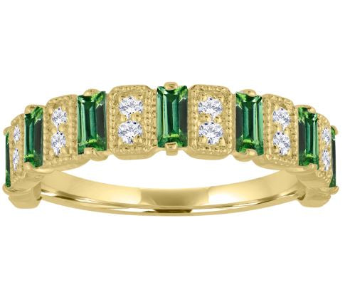 Amelia band with emerald baguettes