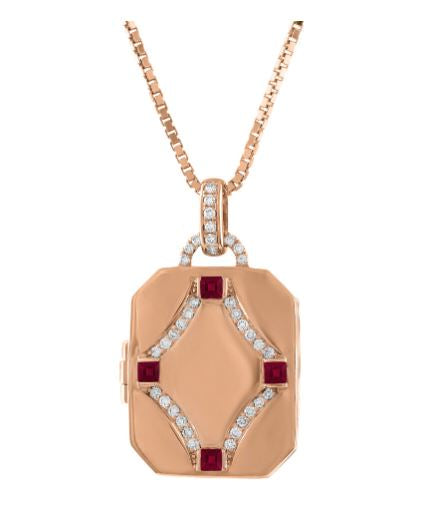 rectangular locket with 4 ruby stones and diamond design in center