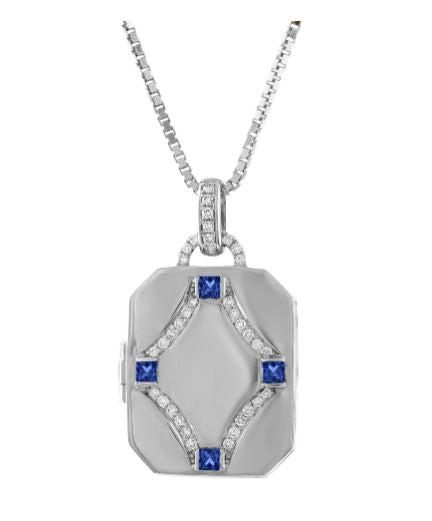 rectangular locket with 4 sapphire stones and diamond design in center
