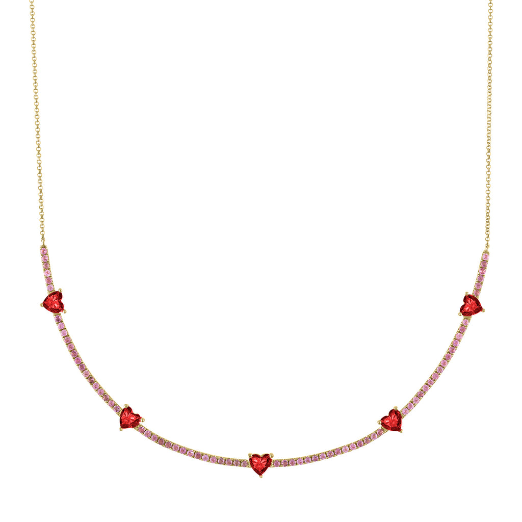 The Pixie Heart Necklace (Tourmaline & Garnet)