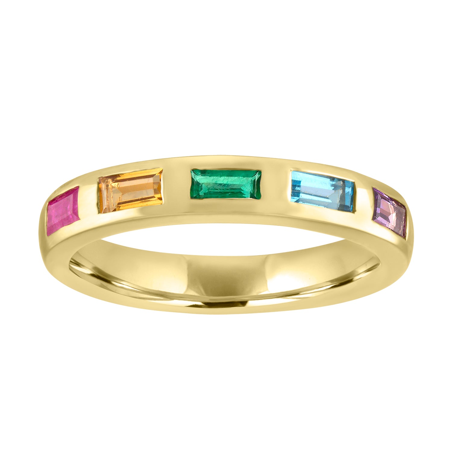 Thin band with 5 rainbow baguettes