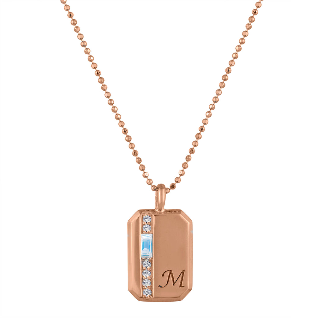 Small rectangular pendant with moonstone baguette, 6 diamonds and an initial