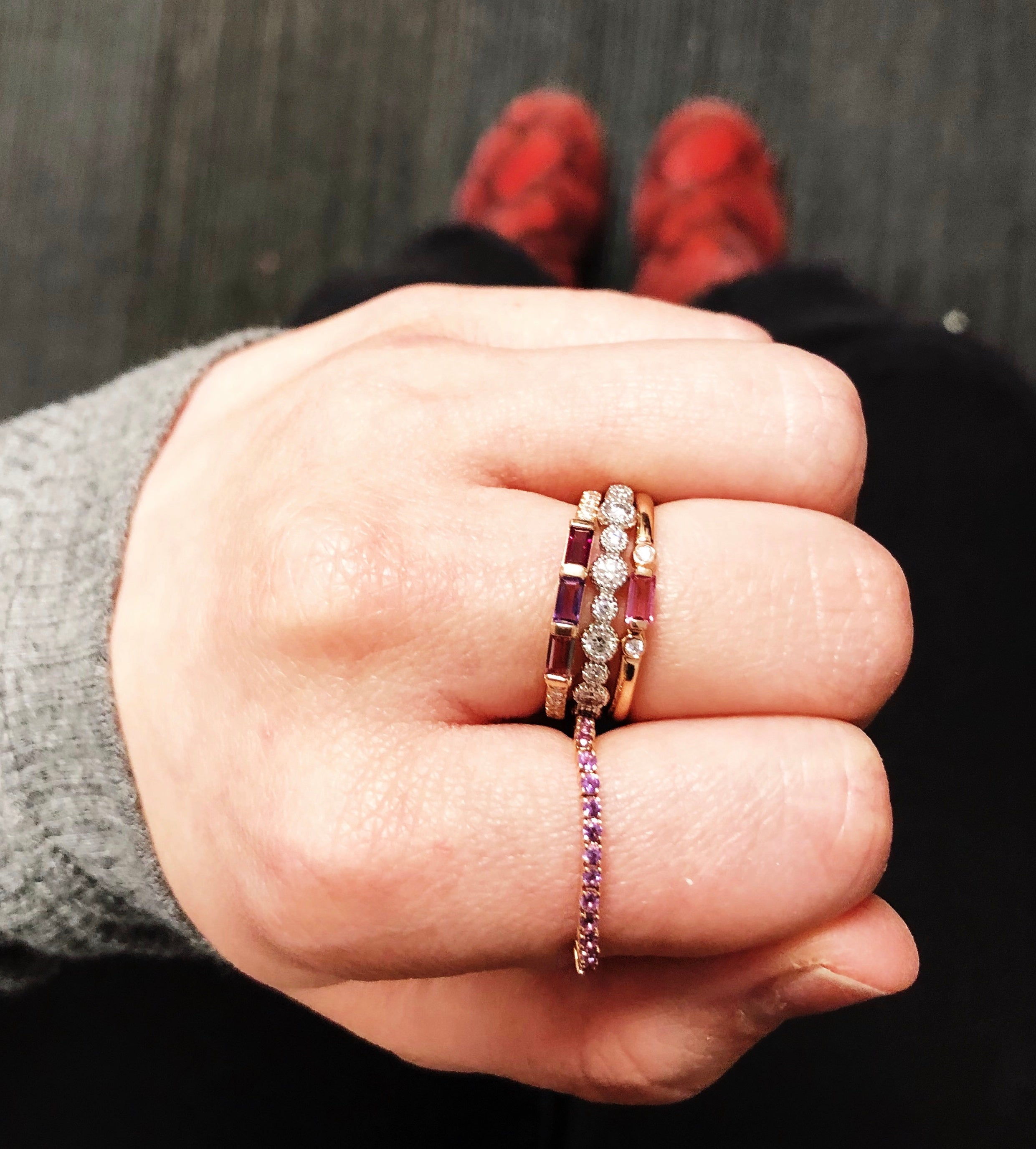 Amethyst Pixie ring with pink ring stack