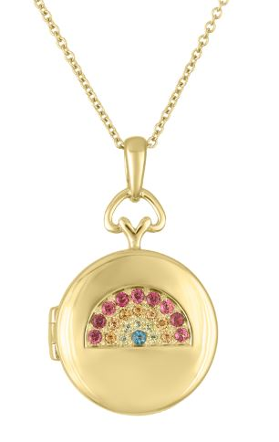 Round locket with jewel rainbow on top