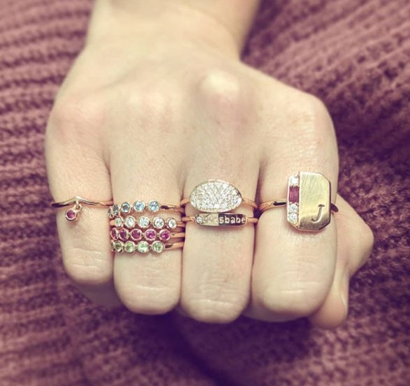 assorted ring stacks with karen