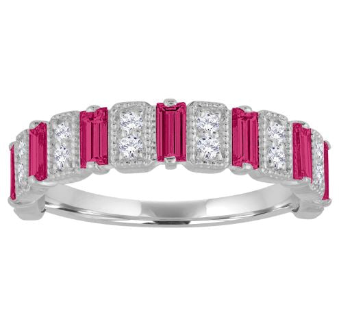 Amelia band with ruby baguettes