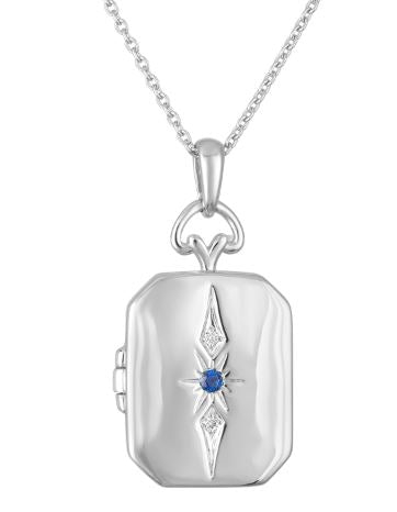 Rectangular locket with starburst motif and sapphire center