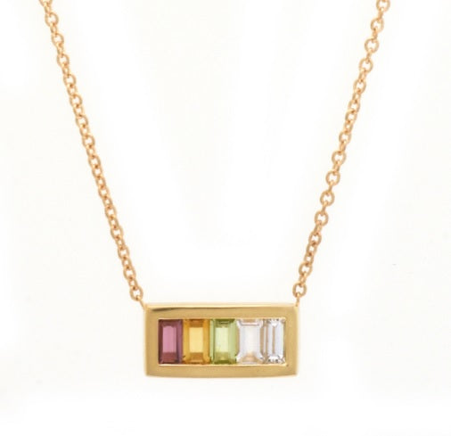 Rectangular pendant with 5 warm tone ombre baguettes