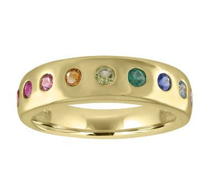 Thick band with 7 round rainbow stones