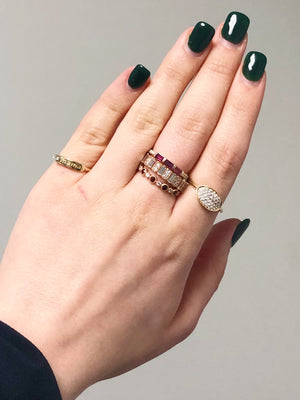 assorted ring stacks with amelia