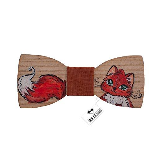 Wooden Red Cat Fox Bow Tie